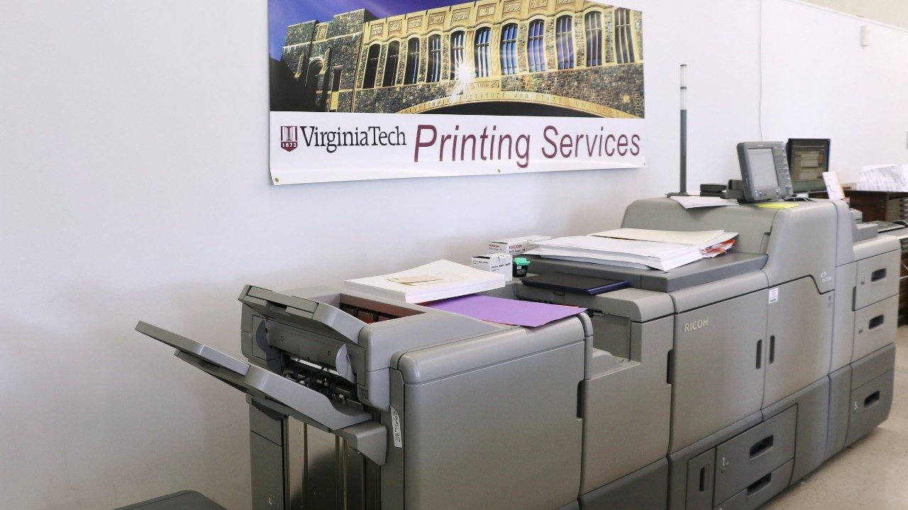 Printing Services offers a complete range of document production services in both offset and digital environments. Services include: Digital production, Offset printing, Binding, Full-color copying and printing, Large format color printing, Copier management program, and Bulk mailing. These services are available to all Virginia Tech affiliated personnel and groups including students, faculty, staff, and recognized student organizations and clubs.